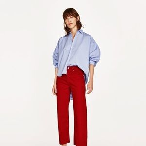 Zara The New Culotte Jeans in Red with Frayed Hem